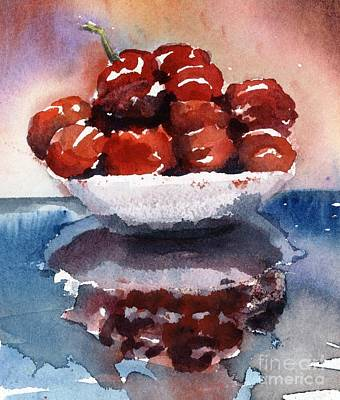 Red Cherries Painting - Small Bowl Of Cherries by Maria Hunt
