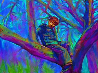 Painting - Small Boy In Large Tree by Hidden  Mountain