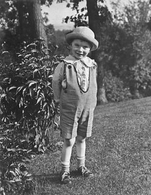 Small Boy Poses In Yard Print by Underwood Archives
