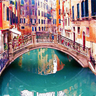 Teal Mixed Media - Small Bridge In Venice by Marian Voicu