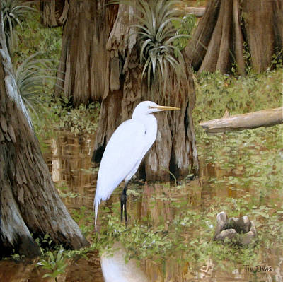 Great Egret Painting - Small But Great by Tim Davis