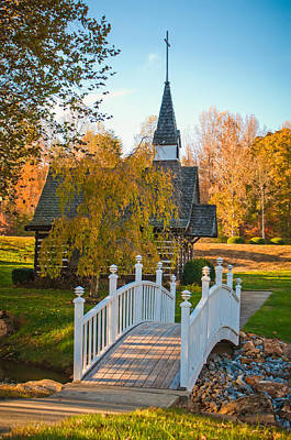 Photograph - Small Chapel Across The Bridge In Fall by Alex Grichenko