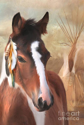 Paint Horse Digital Art - Small Chief Little Feathers by Trudi Simmonds