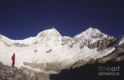 Small Climber Big Peaks Art Print by James Brunker