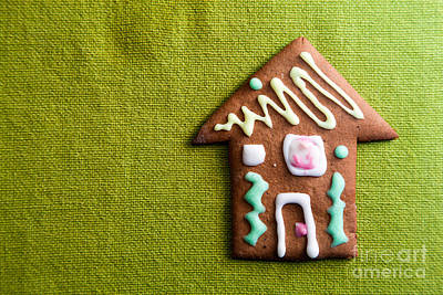 Cookie Photograph - Small Cookie House On Green by Michal Bednarek