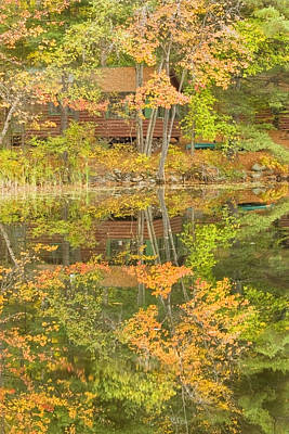 Photograph - Small Cottage On Fall Torsey Pond Readfield Maine by Keith Webber Jr