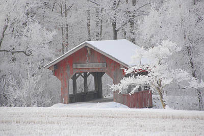 Photograph - Small Covered Bridge On A Frosty Morning by Wanda Jesfield
