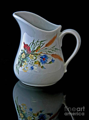 Photograph - Small Cream Pitcher On Black Background Art Prints by Valerie Garner
