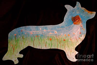 Little Mosters - Small Dog Cut Out With Bride In Wind by Jacqueline Athmann