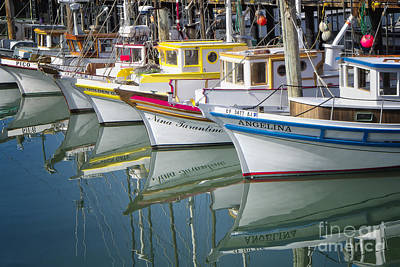 Small Fishing Boats Of San Francisco  Art Print by George Oze