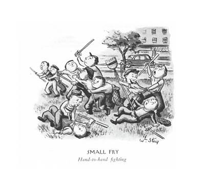 Small Fry  Hand-to-hand ?ghting Art Print by William Steig