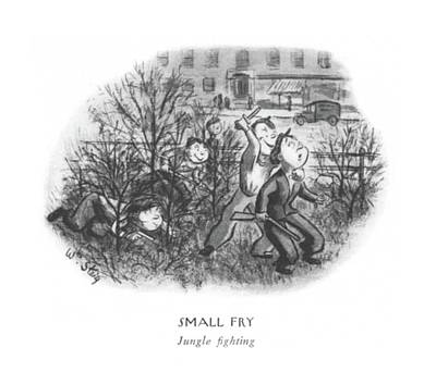 Small Fry  Jungle ?ghting Art Print by William Steig