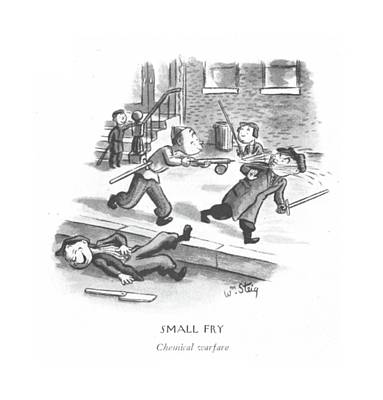 Warfare Drawing - Small Fry Chemical Warfare by William Steig