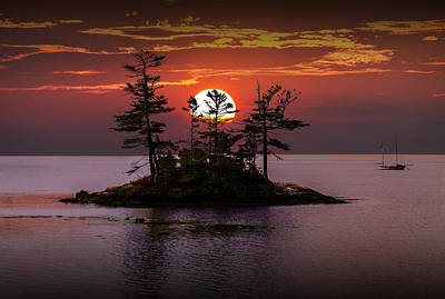 Small Island At Sunset Art Print by Randall Nyhof