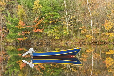 Photograph - Small Motor Boat In Fall Torsey Pond Readfield Maine by Keith Webber Jr