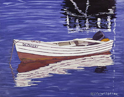 Waterscape Painting - Small Motor Boat In Maine Harbor  by Keith Webber Jr