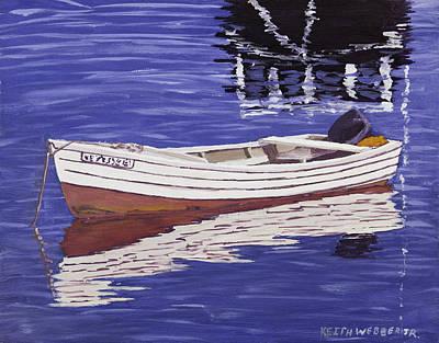 Small Motor Boat In Maine Harbor  Art Print