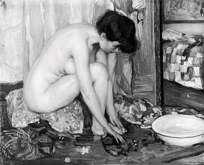 Nude Wife Photograph - Small Nude Painting By Albert Worcester C. 1910 by Daniel Hagerman