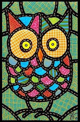Small Quilted Owl Art Print by Jim Harris