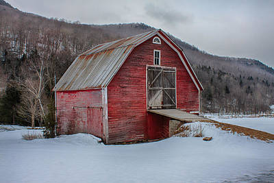 Red Barn In Snow Digital Art - Small Red Barn by Jeff Folger