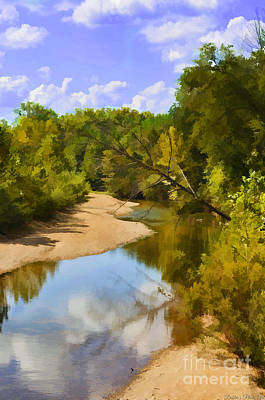 Photograph - Small River In So. Missouri 3 - Digital Paint by Debbie Portwood