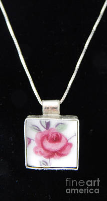 Glass Art - Small Rose Pendant by Patricia  Tierney