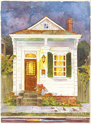 New Orleans Shotgun Houses Painting - Small Shotgun by Joyce Hensley