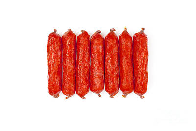 Small Smoked Sausages Art Print by Aleksey Tugolukov