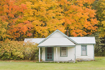 Small Sporting Camp In Fall Mountains Of Maine Art Print