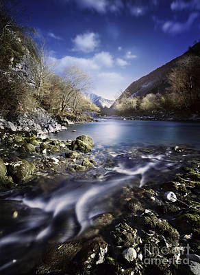 Small Stream Flowing Into The Mountain Art Print by Evgeny Kuklev