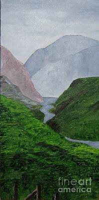 Art Print featuring the painting Small Stream In The Hills by Susanne Baumann