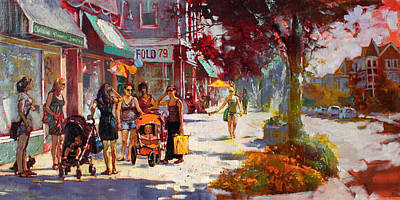 Small Talk In Elmwood Ave Art Print
