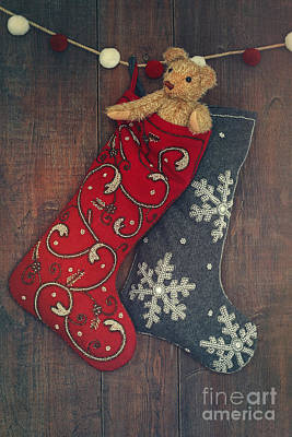 Small Teddy Bear In Stocking For Christmas Art Print by Sandra Cunningham