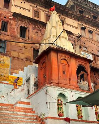 Photograph - Small Temple On The Ghat  - Varanasi India by Kim Bemis