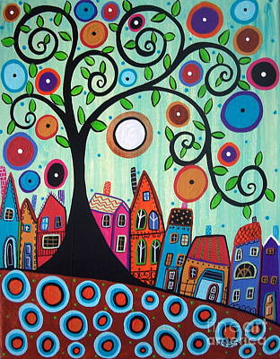 Swirl Tree Painting - Small Town 1 by Karla Gerard