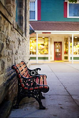 Quiet Town Photograph - Small Town Bench by April Reppucci