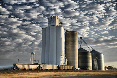 Art Print featuring the photograph Small Town Elevators by Shirley Heier