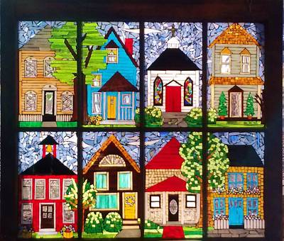 Glass Art - Small Town by Liz Lowder