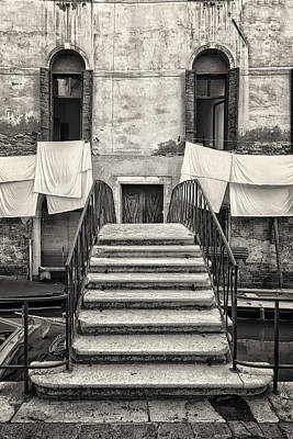 Photograph - Small Traditional Staircase In Front Of Old Buildings In Venice by Francesco Rizzato