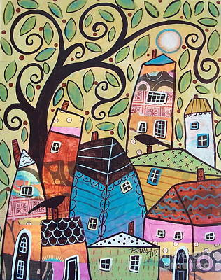 Swirl Tree Painting - Small Village by Karla Gerard