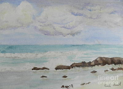 Bulli Painting - Small Waves Breaking Near Rocks by Pamela  Meredith