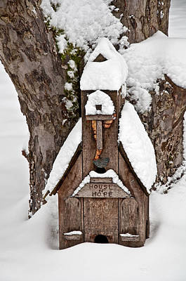 Photograph - Small Wood Church House Of Hope In Snow by Valerie Garner