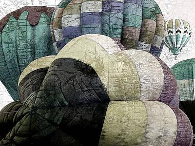 Hot Air Balloon Mixed Media - Small World by Bonnie Bruno