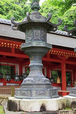Shinto Temple Photograph - Smaller Metal And Gold Lanterns by Paul Dymond