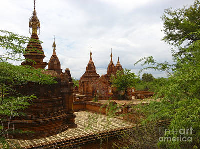 Art Print featuring the photograph Smaller Temples Next To Dhammayazika Pagoda Built In 1196 By King Narapatisithu Bagan Burma by Ralph A  Ledergerber-Photography