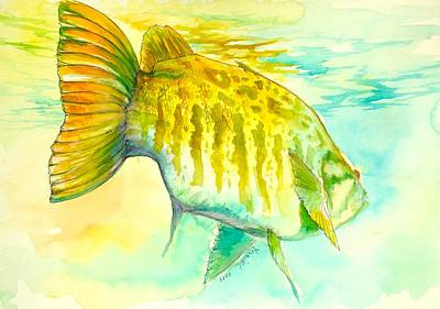 Largemouth Digital Art - Smallie Patrol by Yusniel Santos