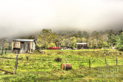 Smalll West Virginia Farm Coming Out Of Clouds Art Print by Dan Friend
