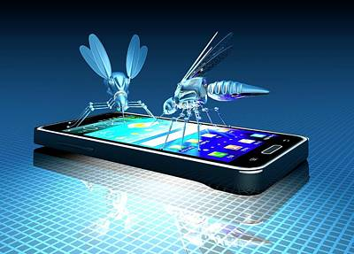 Smartphone With Nano Bugs Art Print by Victor Habbick Visions