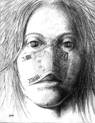 Betlej Drawing - Smell Of Money by Piotr Betlej