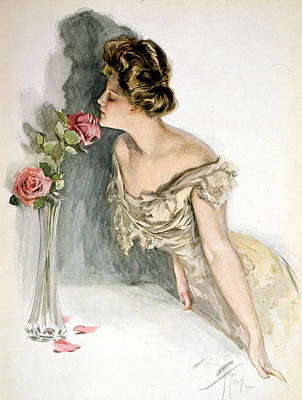 Smelling The Roses Art Print by Harrison Fisher